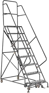 Louisville Ladder GSW2410 Rolling Warehouse Ladder with 24-Inch Step Width and Handrails, 100-Inch Platform Height, 10-Step