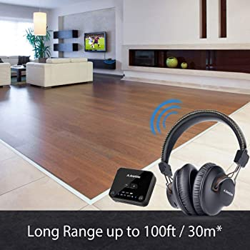 Avantree HT4189 Wireless Headphones for TV Watching w/Bluetooth Transmitter (Digital Optical Aux RCA Pc USB), 40 Hrs ...