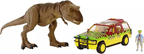 high quality Jurassic online sale World Legacy Collection Tyrannosaurus Rex Escape Pack with Jurassic Park Vehicle outlet online sale and Tim Action Figure sale