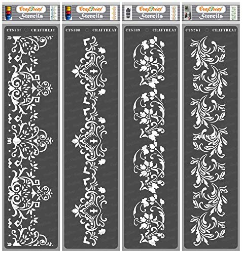 CrafTreat Floral Border Stencils for Painting on Wood, Canvas, Paper, Floor, Wall and Tile - Border I, Border II, Border III and Border V - 4 Pcs - 3x12 Inches Each - Reusable DIY Craft Stencils