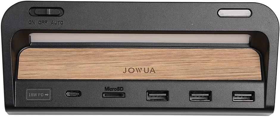 JOWUA USB Hub with LED Light for Tesla Model 3 / Model Y DashCam Sentry Mode Reader Smart Sensor LED (Dual USB-A (2017-2020/6 Model 3), Brown / Wood)