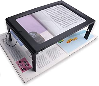 A4 Full-Page Rectangular 2.5X Magnifier Large Hands-Free Magnifying Glass LED Lighted Illuminated Foldable Desktop Portable for Elder Kids