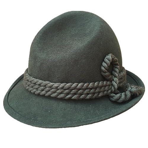9d01dee0732 Green Tyrolean Hat Oktoberfest Wool Felt Bavarian Alpine Chapeau Fedora  Rope Hat
