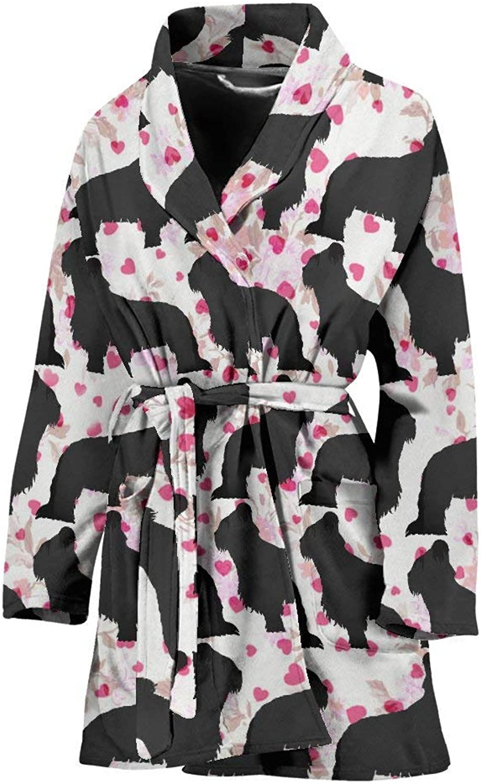 Deruj Briard Dog Pattern Print Women's Bath Robe