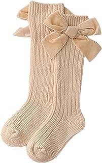 N / C, Calcetines altos de invierno para bebé niña con lazo de terciopelo grande para bebés y niños pequeños