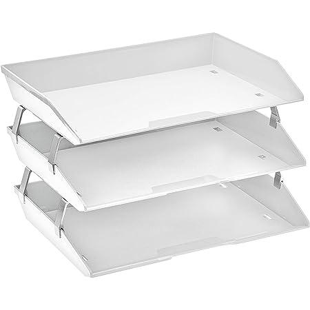 Acrimet Facility 3 Tier Letter Tray A4 Side Load Plastic Desktop File Organizer (White Color)