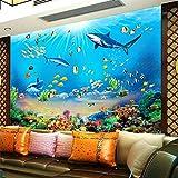 FLYYL Mural Foto Wallpaper HD Mundo Submarino Tiburón Peces Tropicales 3D Mural Moderno Acuario Sala de estar TV Niños Dormitorio Telón de fondo Decoración de la pared Decoración del hogar