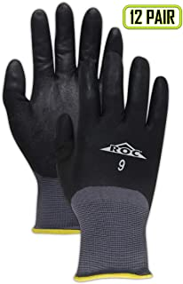 MAGID GP110 ROC Nylon Blended Nitrile Coating Medium Weight Glove with Knit Wrist Cuff, Work, 8-1/2