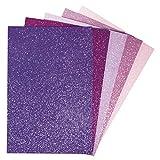 Rayher 75439999 Moosgummiplatten Glitter, selbstklebend, versch. Pink.- und Lilatöne, 5 Stück, 20 x 30 x 0,2 cm