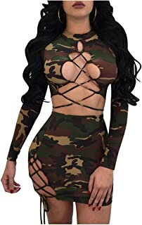 Women's Sexy Camouflage Print Crop Top Lace up Skirt 2 Pieces Outfits Bandage Mini Club Dress
