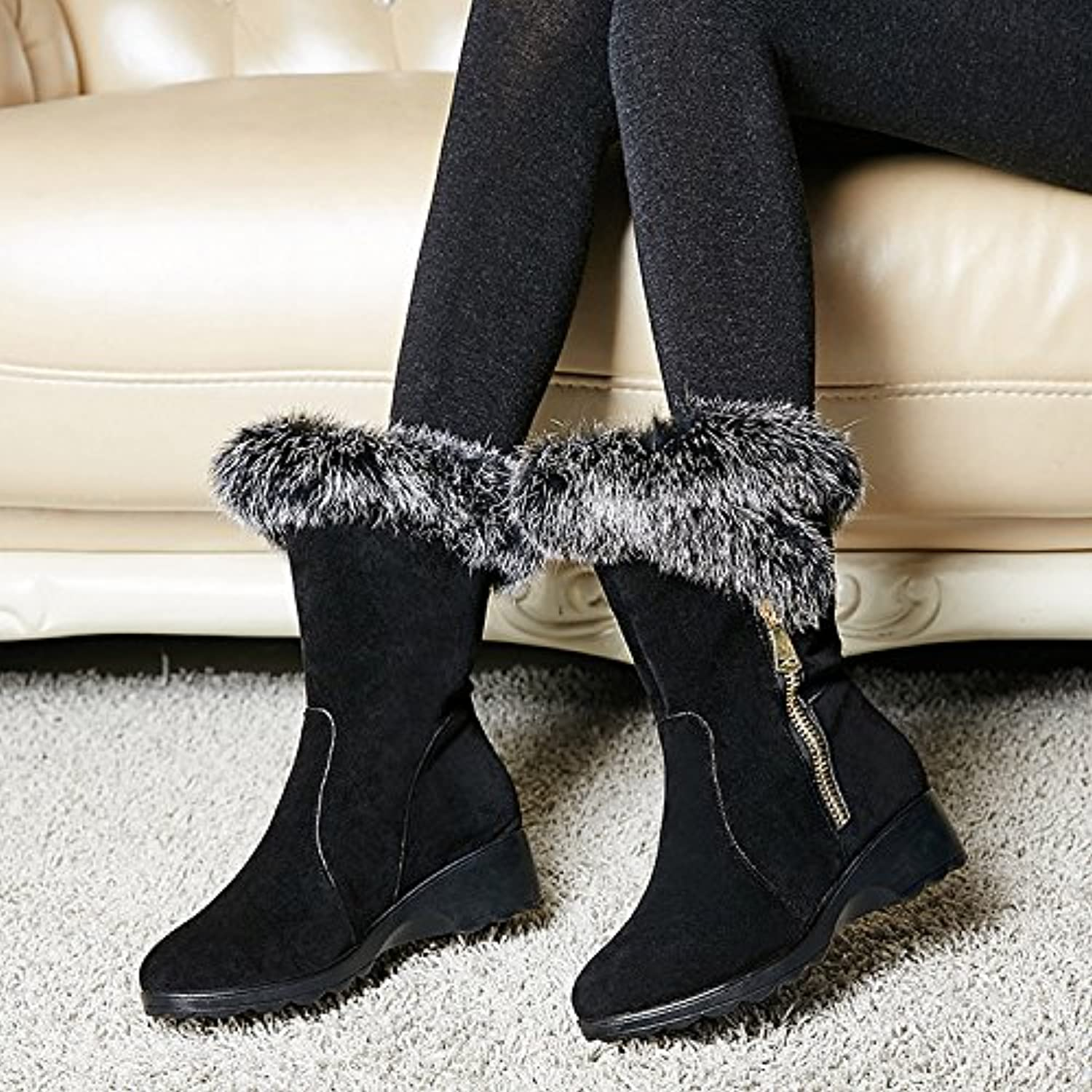 San New leather winter scrub with warm snow boots women boots rabbit fur in the fur and cotton sleeve boots