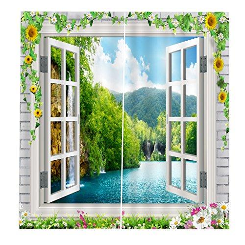 2X Cortina Salón de Panel Gasa Baño Hogar Ventana Dormitorio Decotativo de Fiesta Cáfe Oficina - Estilo 13