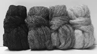 Stormy Night Carded Corriedale Roving, 4 Colors 4 Ounces