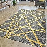 TT Home Alfombra moderna para salón, de pelo corto, líneas abstractas, en amarillo y gris, tamaño: 200 x 290 cm