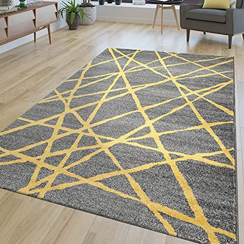 TT Home Alfombra de salón moderna, a rayas, pelo corto, líneas abstractas, en amarillo y gris, tamaño: 120 x 170 cm