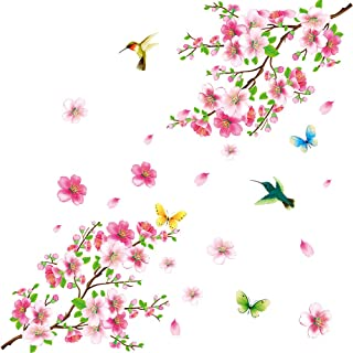 Amaonm Creative Removable DIY Pink Peach blossom Wall Stickers Flowers and Tree Branch Wall Decals Birds Wall art Decor for Kids Rooms Bedroom Girls Nursery Living Room Playroom Office Wall Decoration