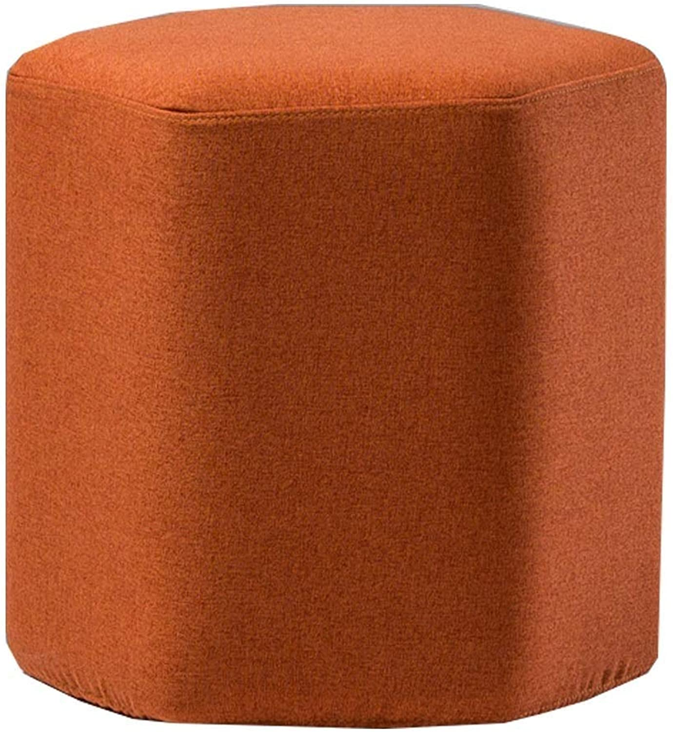 Diamond Stool, DXZ Creative Seat with Anti-Slip Mat, Linen Cushion Anti-Slip Mat Living Room Bedroom Dressing Table   42cm × 40cm orange