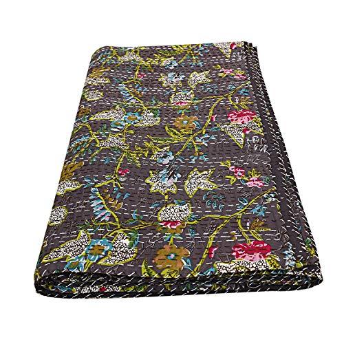 Paradise Kantha Kantha - Edredón decorativo para cama de algodón con estampado floral