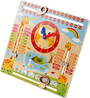 CUTICATE Child Multi-function Calendar Clock Month, Week, Date Cognition Wooden Toy