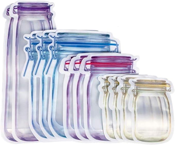 19 opinioni per Zasiene Mason Jar Ziplock Bags 12 Pezzi Mason Jar Zipper Bags Snack Sacchetti