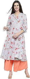 Sera Women's Striped White Pure Cotton Anarkali Fusion Calf Length Kurta and Palazzos Set