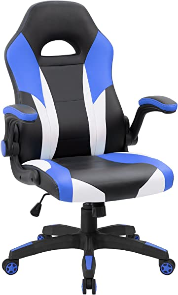 JUMMICO Gaming Chair Ergonomic Leather Racing Computer Chair High Back Adjustable Swivel Executive Office Desk Chair With Flip Up Armrest Blue