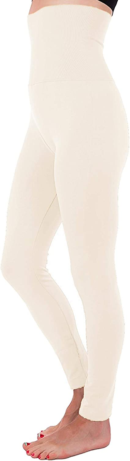 N&J High Waist Fleece Lined Thick Tummy-Compression Brushed Leggings One Size (S/M/L)