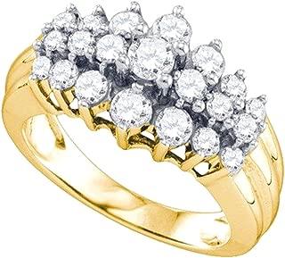 1.04 Carat (ctw) 10K Round Cut Diamond Ladies Right Hand Cluster Ring 1 CT, Yellow Gold