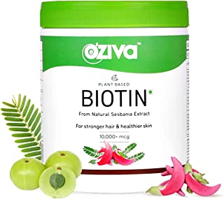 OZiva Plant Based Biotin 10000+ mcg (with Natural Sesbania Agati Extract, Bamboo Shoot, Amla, Pomegranate), For Stronger H...