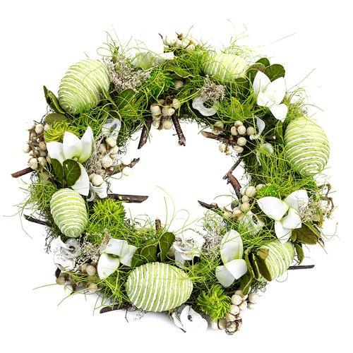 Osterkranz Grün, Blütenkranz, Türkranz, Dekokranz, Kranz, Ostereier, Ø ca. 25cm