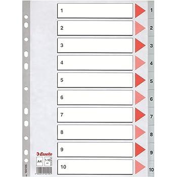 Multicolore,100162 Formato A4 Esselte Rubrica numerica Cartoncino Rinforzo in mylar