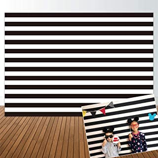 Allenjoy 7x5ft Black and White Stripe Backdrop for Birthday Party Bridal Baby Shower Christmas Xmas Wedding Decor Decorations Photography Pictures Photo Studio Booth Shoot Background