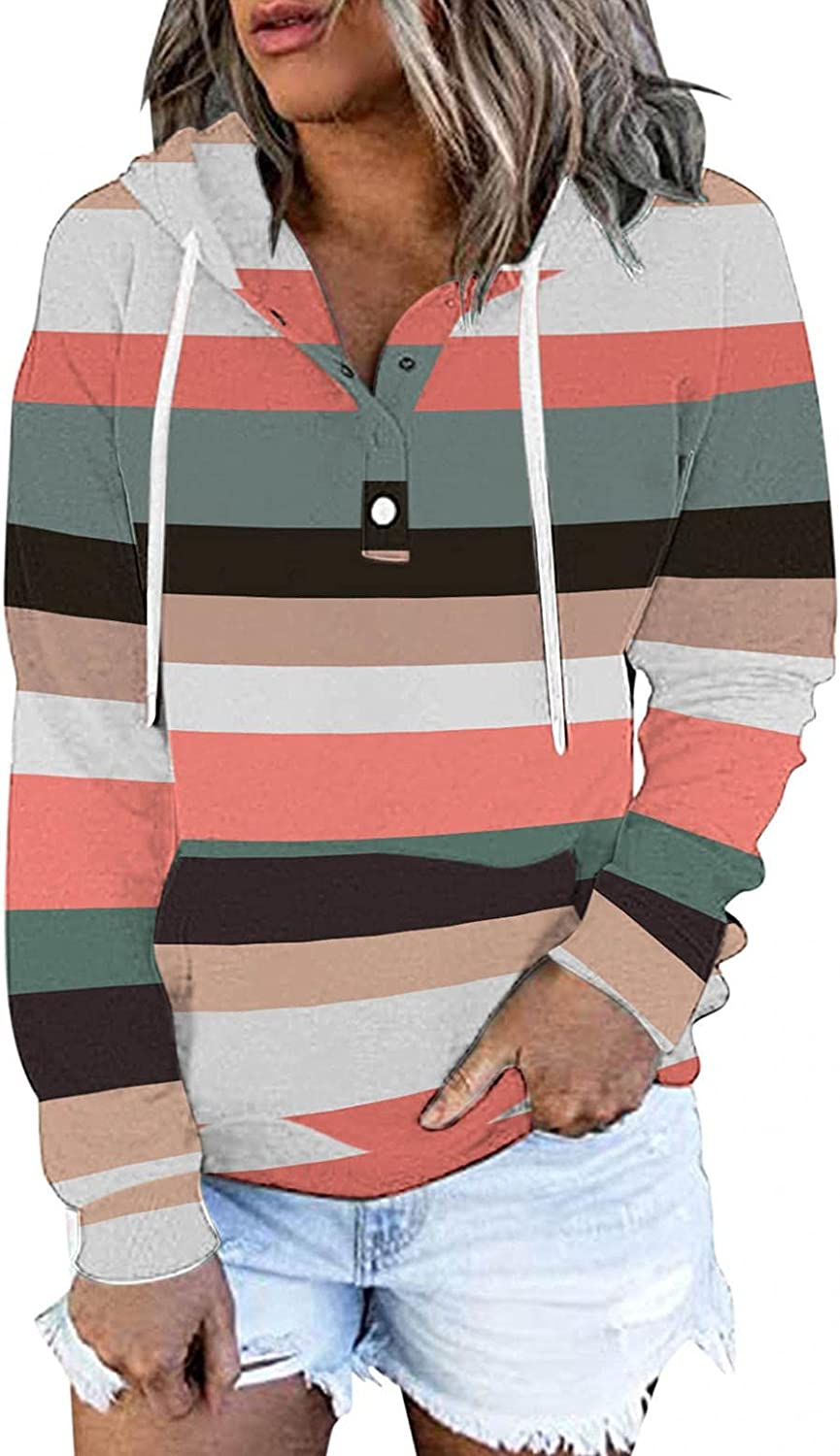 POLLYANNA KEONG Hoodies for Women,Drawstring Pullover Striped Pocket Long Sleeve Button Down Casual Sweatshirts
