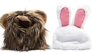 Lamphyface 2 Pack Lion Mane Wig Costume Bunny Rabbit Hat with Ears Halloween Party Accessories for Cats and Small Dogs