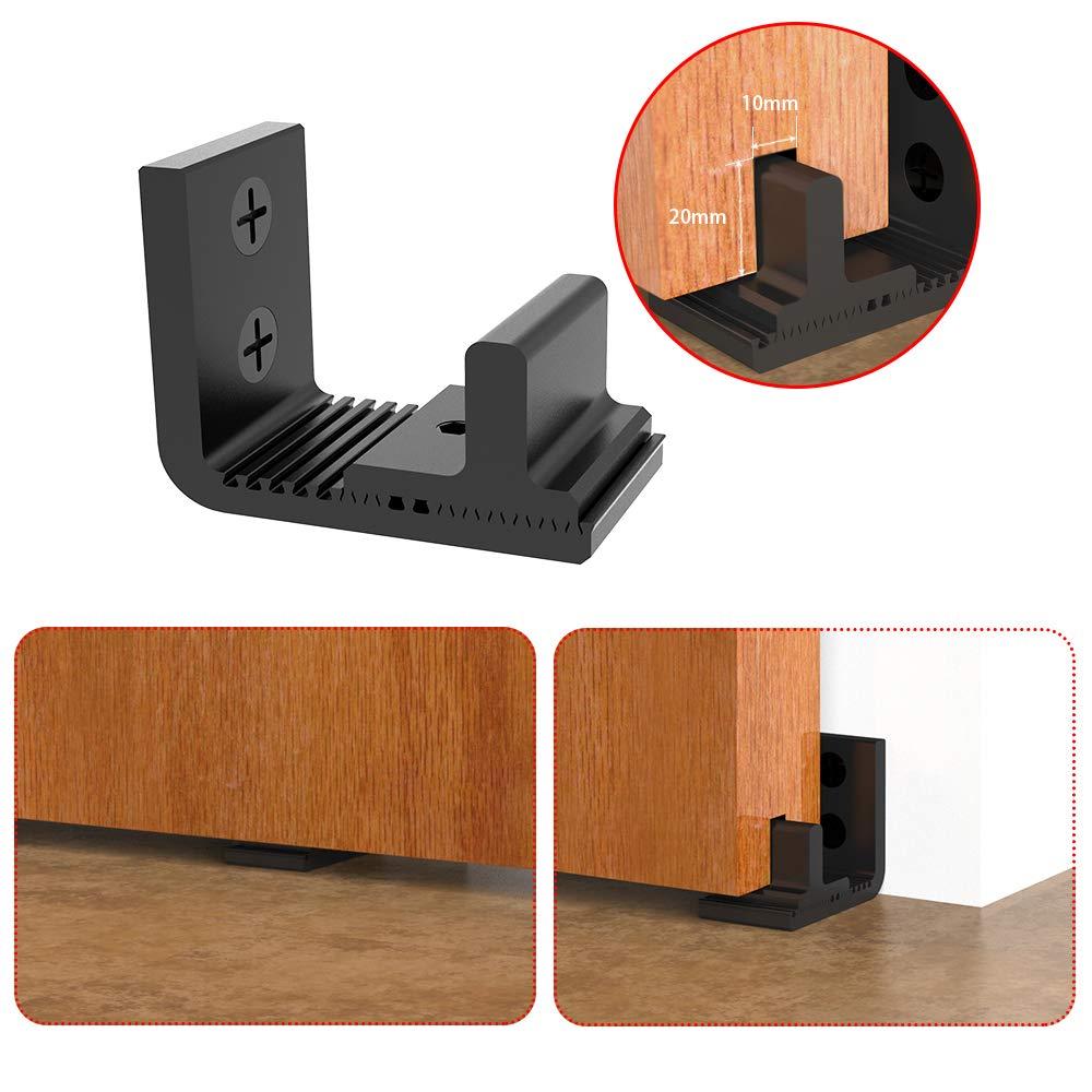 CCJH Puerta de granja corredera ajustable gu/ía de suelo para pared o bajo de puerta