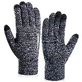 coskefy Winter Warm Gestrickte Touchscreen Handschuhe für Frauen Männer Gloves Wolle Ostern Weihnachten Sport Fahrrad Reiten Camping Wandern Laufen Arbeit Bequem (Damen, Schwarz-Weiß)