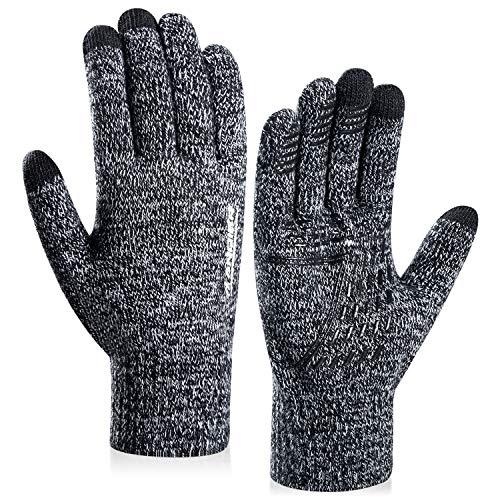 coskefy Handschuhe Herren Damen Winter Strickhandschuhe Touchscreen Gloves Laufen Wolle Warm Laufhandschuhe Geburtstag Sport Fahrrad Reiten Camping Wandern Arbeit Bequem (Schwarz-Weiß, Herren)