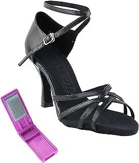 Very Fine Ballroom Latin Tango Salsa Dance Shoes for Women SERA1606 2.5 Inch Heel + Foldable Brush Bundle