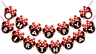 CHuangQi Minnie Themed Party Banner, Happy Birthday Letter Banner, Red Bow with Polka Dots Card, 1st Birthday Party Suppli...