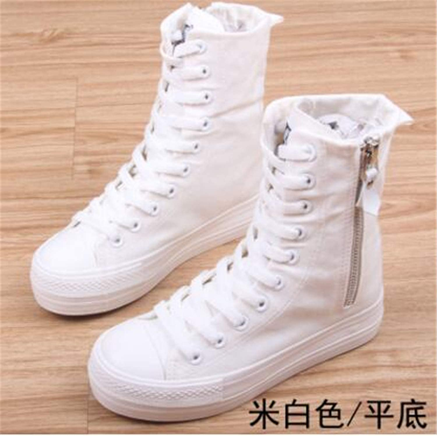 HCHBE& 2018 New Spring Autumn high top Platform Girl's Canvas shoes Zipper Fashion Women Casual shoes Female Leisure shoes Sneakers color 5 6.5