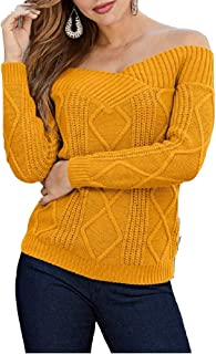Farktop Womens Off The Shoulder Sweaters Sexy Long Sleeve Cable Knit Plain Pullover Jumper Top