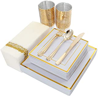 IOOOOO 175PCS Plastic Square Plates, Napkins, Gold Disposable Silverware & Cups, 25 Guests Set: 25 Dinner Plates, 25 Salad Plates, 25 Forks, 25 Knives, 25 Spoons, 25 Tumblers, 25 Guest Towels