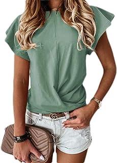 Loyomobak Womens Tops Tee O Neck Solid Color Ruffle Short Sleeve T Shirts