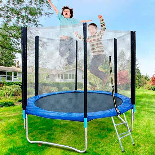 Creativem Trampoline Trampoline with Bar 8ft Round Trampoline with Safety Enclosure Net Ladder Spring Cover Padding, Outdoor Activity, Children's Joyful Childhood Moment
