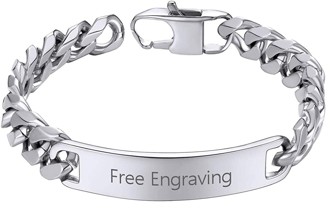 ChainsHouse Custom ID Bracelet for Men Women Stainless Steel Cuban Curb Link Chain Personalized Engrave Bar Bracelet Bangle, 7MM/10MM/15MM Width, 7.5/8.3/9.1 Inch Length, Send Gift Box