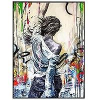 美しい女性の背中の背景キャンバス絵画通り落書きアートポスターとキャンバスの壁のアートの写真家の装飾写真、寝室、オフィス、フレームレス,50X75cm