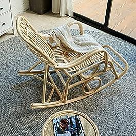 Fauteuil À Bascule Rocking Chair Rotin Tissés À La Main, Chaise Berçante À Balcon Jardin avec Accoudoir Charge Max De…