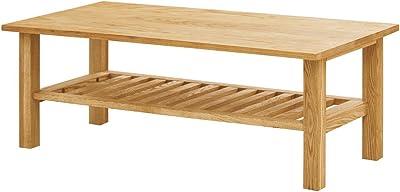 モンド 棚付テーブル ローテーブル センターテーブル コーヒーテーブル 木製 タモ無垢 幅115cm -