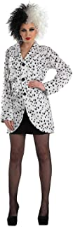 Womens Dalmatian Print Jacket Adults Dog Movie Villain Costume Accessory