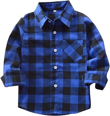 Yying Camisa Niño Manga Larga - Camisa Cuadros Blusa Niños Tops Niñas Camiseta Primavera Otoño Tshirt Tartan Shirt Escuela Abrigo Diariamente Casual